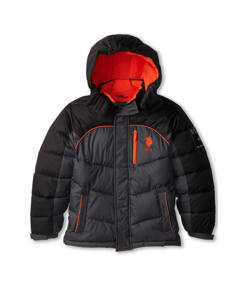 U.S. POLO ASSN. Kids - Poly-Fill Two-Toned Bubble Jacket with Removable Hood (Big Kids) (Charcoal/Black) Boy