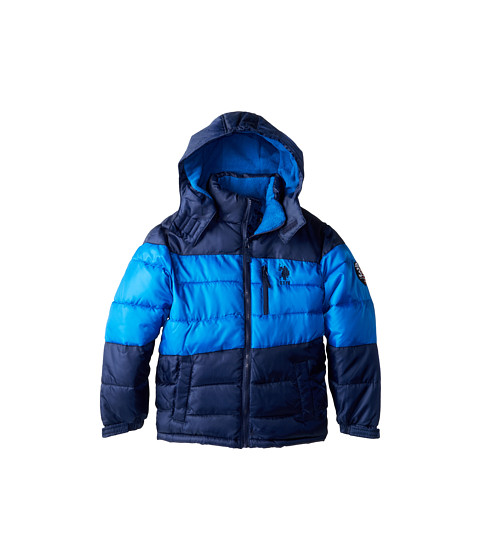 U.S. POLO ASSN. Kids - Color Block Puffer Jacket with Removable Hood (Big Kids) (Blue/Navy) Boy