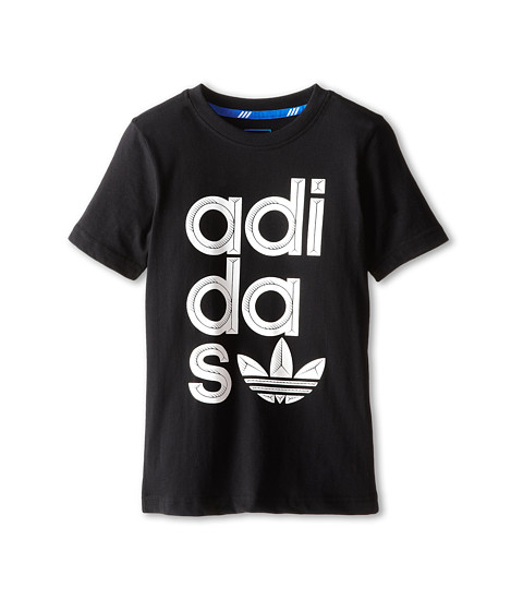 adidas Originals Kids - Wrap Logo Tee (Little Kids/Big Kids) (Black/White) Boy