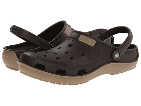 Crocs - Duet Wave Clog (Espresso/Khaki) Clog/Mule Shoes