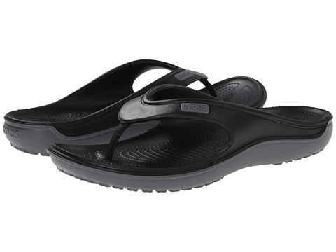 Crocs - Duet Wave Flip (Black/Charcoal) Sandals