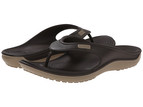 Crocs - Duet Wave Flip (Espresso/Khaki) Sandals