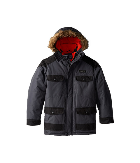 U.S. POLO ASSN. Kids - Parka with Heavy Textured Dobby Trim and Faux Fur Trimmed Hood (Big Kids) (Charcoal) Boy's Coat