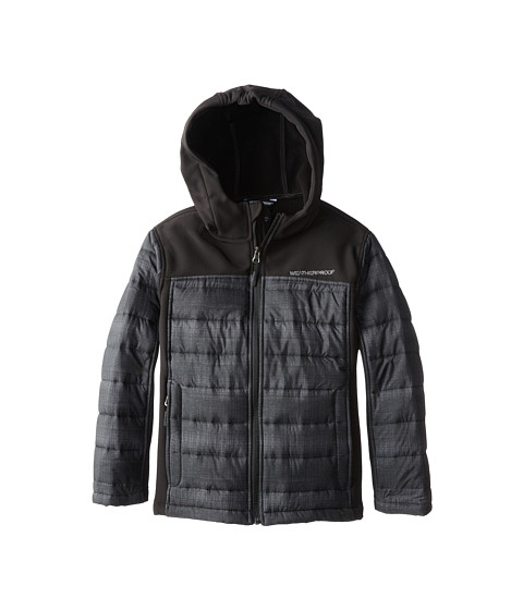Weatherproof Kids - Softshell Bubble Mix Jacket with Hood (Big Kids) (Charcoal Print) Boy