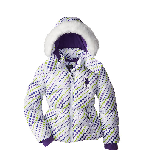 U.S. POLO ASSN. Kids - Dot Print Bubble Jacket with Removable Hood (Big Kids) (White) Girl