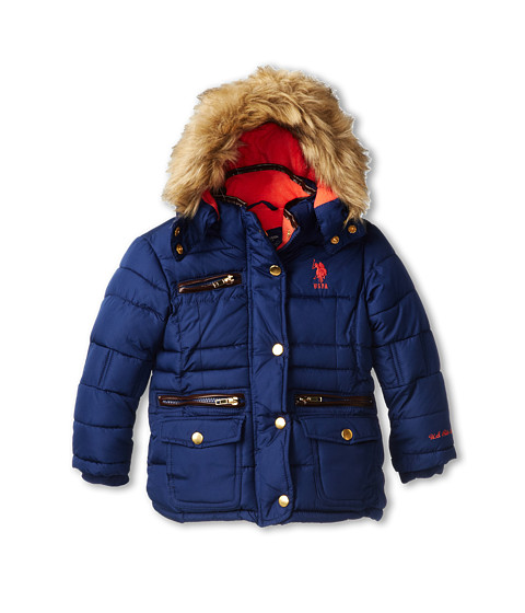U.S. POLO ASSN. Kids - Quilted Bubble Jacket with Pu Trim and Detachable Hood (Toddler) (Navy) Girl