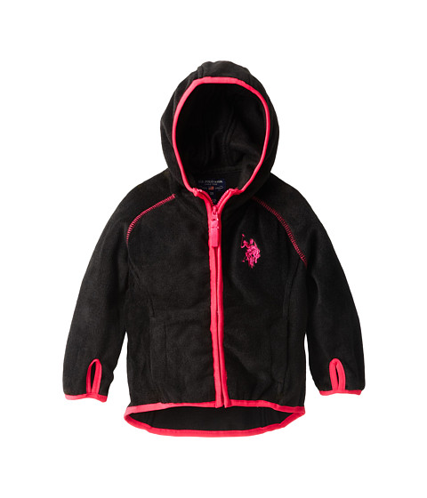 U.S. POLO ASSN. Kids - Polar Fleece Raglan Sleeve Hooded Jacket (Toddler) (Black) Girl's Coat