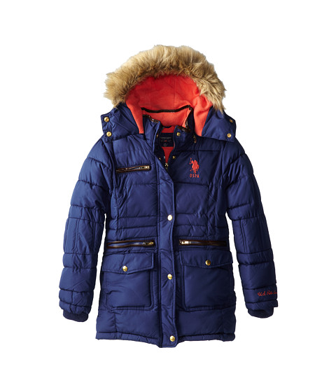 U.S. POLO ASSN. Kids - Quilted Bubble Jacket with Pu Trim and Detachable Hood (Big Kids) (Navy) Girl