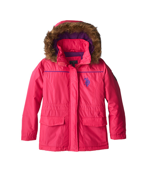 U.S. POLO ASSN. Kids - Parka with Removable Faux Fur Trimmed Hood (Big Kids) (Fuchsia) Girl