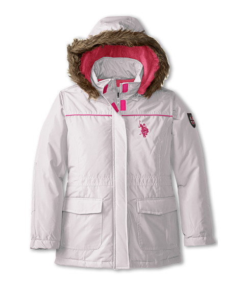 U.S. POLO ASSN. Kids - Parka with Removable Faux Fur Trimmed Hood (Big Kids) (Cream) Girl's Coat