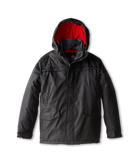 Weatherproof Kids - Ripstop Radiance Parka with Printed Plaid Vestee (Big Kids) (Black) Boy's Coat