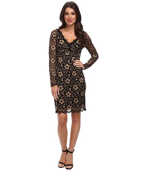 Karen Kane - Scallop Lace Dress (Gold/Black) Women