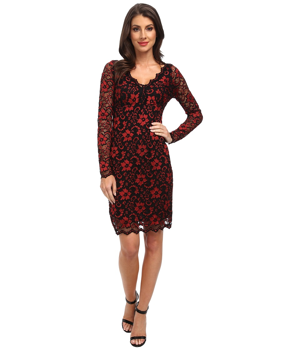 Karen Kane - Scallop Lace Dress (Red/Black) Women's Dress