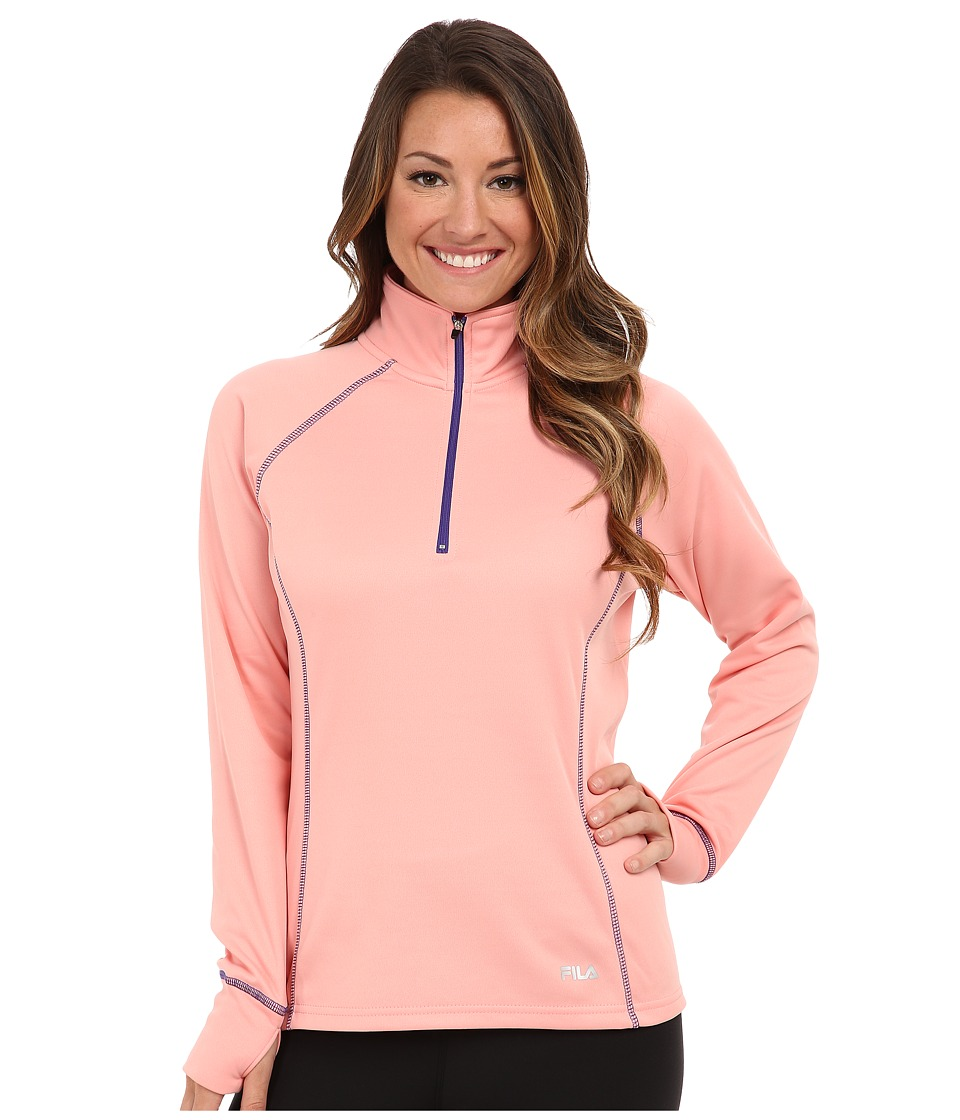 Fila - 1/4 Zip Comfort Knit (Candlelight Peach/Deep Blue) Women's Long Sleeve Pullover
