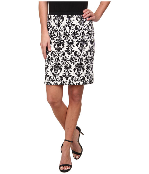 Karen Kane - Printed Scuba Pencil Skirt (Off-White Black) Women
