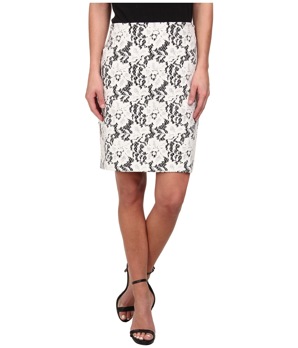 Karen Kane - Bonded Lace Skirt (Off-White Black) Women