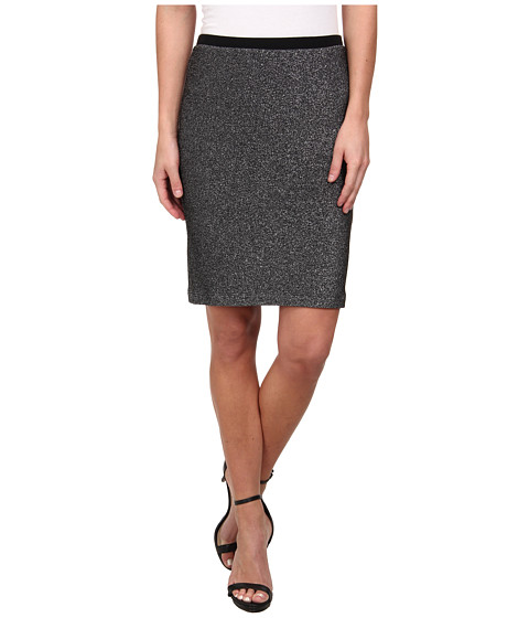 Karen Kane - Metallic Knit Pencil Skirt (Black/Silver) Women