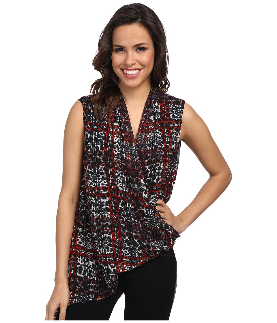 Karen Kane - Animal Plaid Crossover Tank (Print) Women's Sleeveless