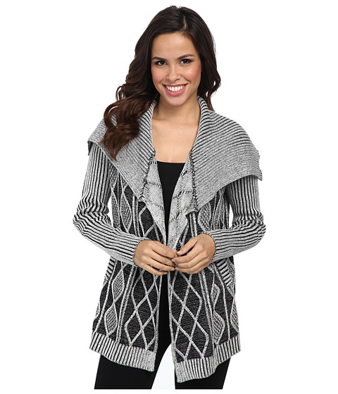 Karen Kane - Cable Knit Cardigan (Black/Lurex) Women's Sweater