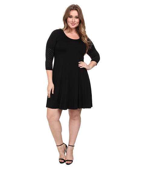 Karen Kane Plus - Plus Size 3/4 Sleeve Embellished Cuff Swing Dress (Black) Women's Dress