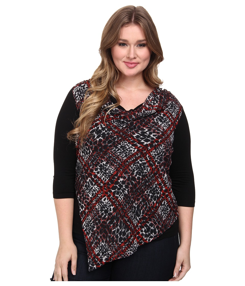 Karen Kane Plus - Plus Size Animal Plaid Overlay Top (Print) Women's Long Sleeve Pullover plus size,  plus size fashion plus size appare