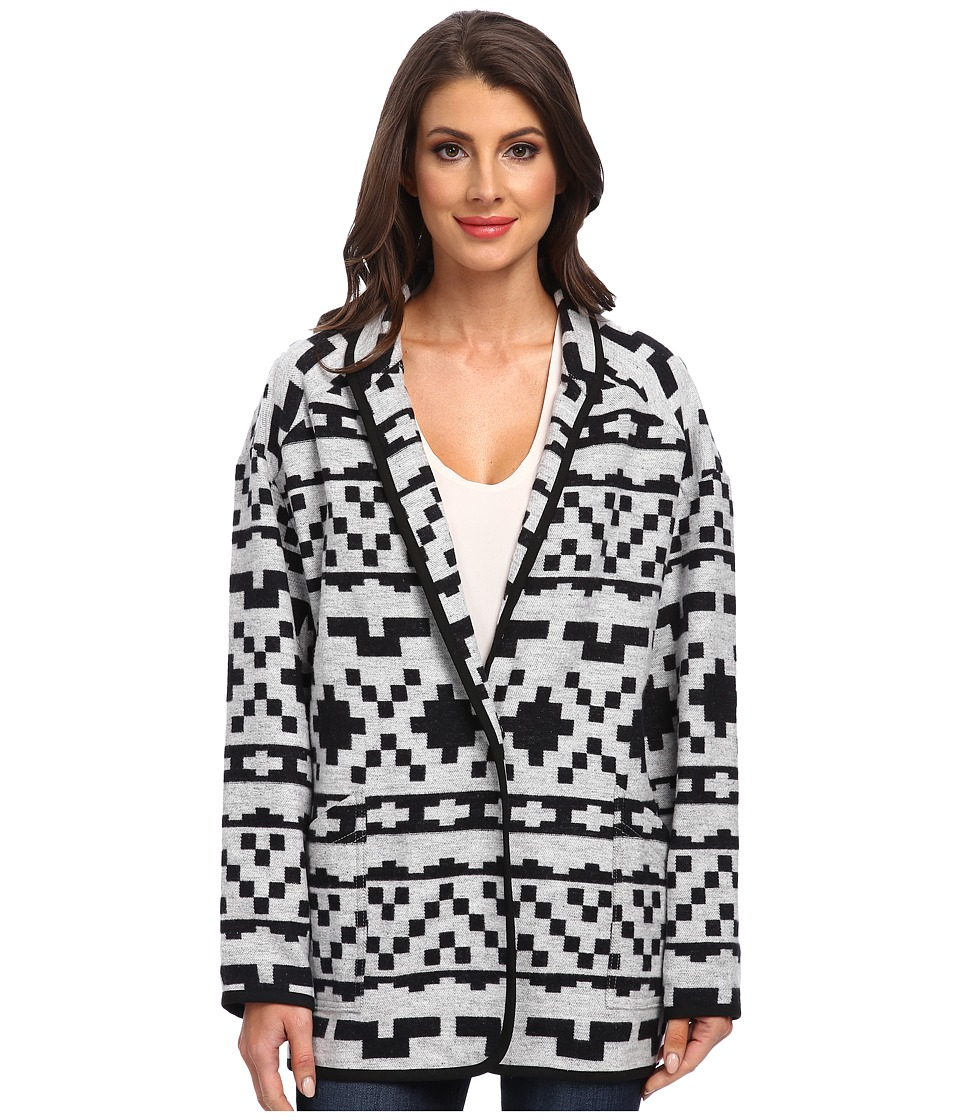 Karen Kane - Cozy Travel Jacket (White w/ Black) Women's Coat