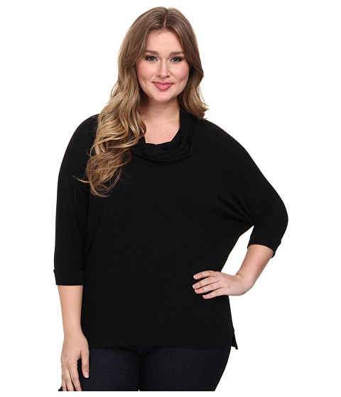 Karen Kane Plus - Plus Size Cowl Neck Hanky Hem Top (Black) Women's Long Sleeve Pullover