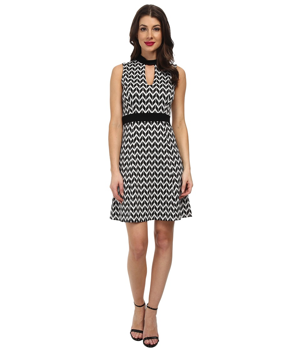 Karen Kane Knit Chevron Dress (Black/Off-White) Women