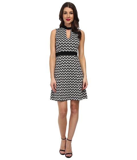 Karen Kane - Knit Chevron Dress (Black/Off-White) Women