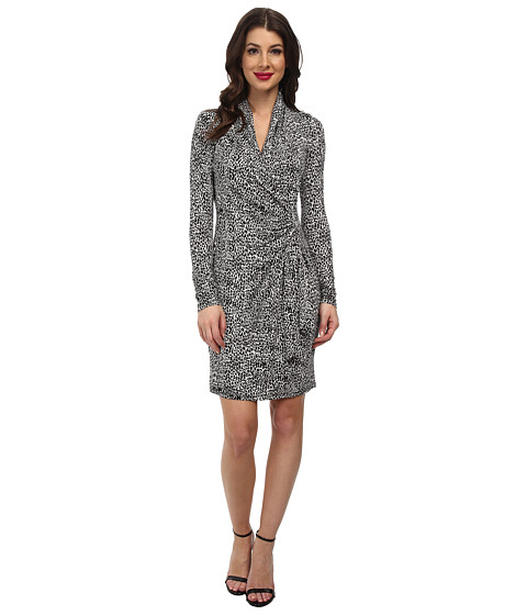 Karen Kane - Monotone Print Cascade Wrap Dress (White w/ Black) Women's Dress