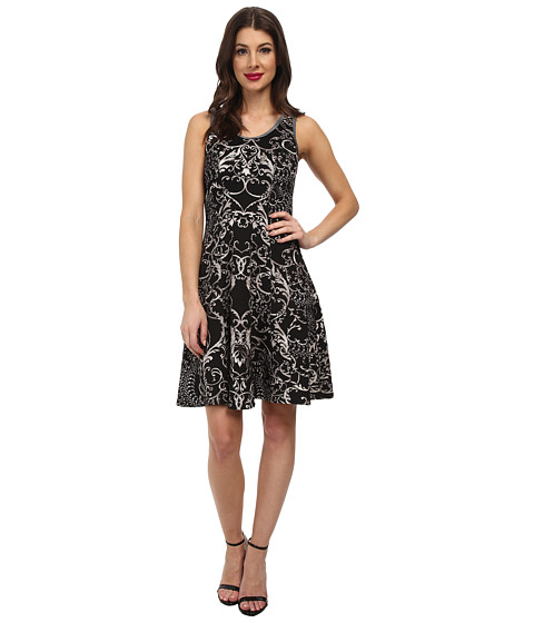Karen Kane - Scuba Print Dress (Black/Cream) Women