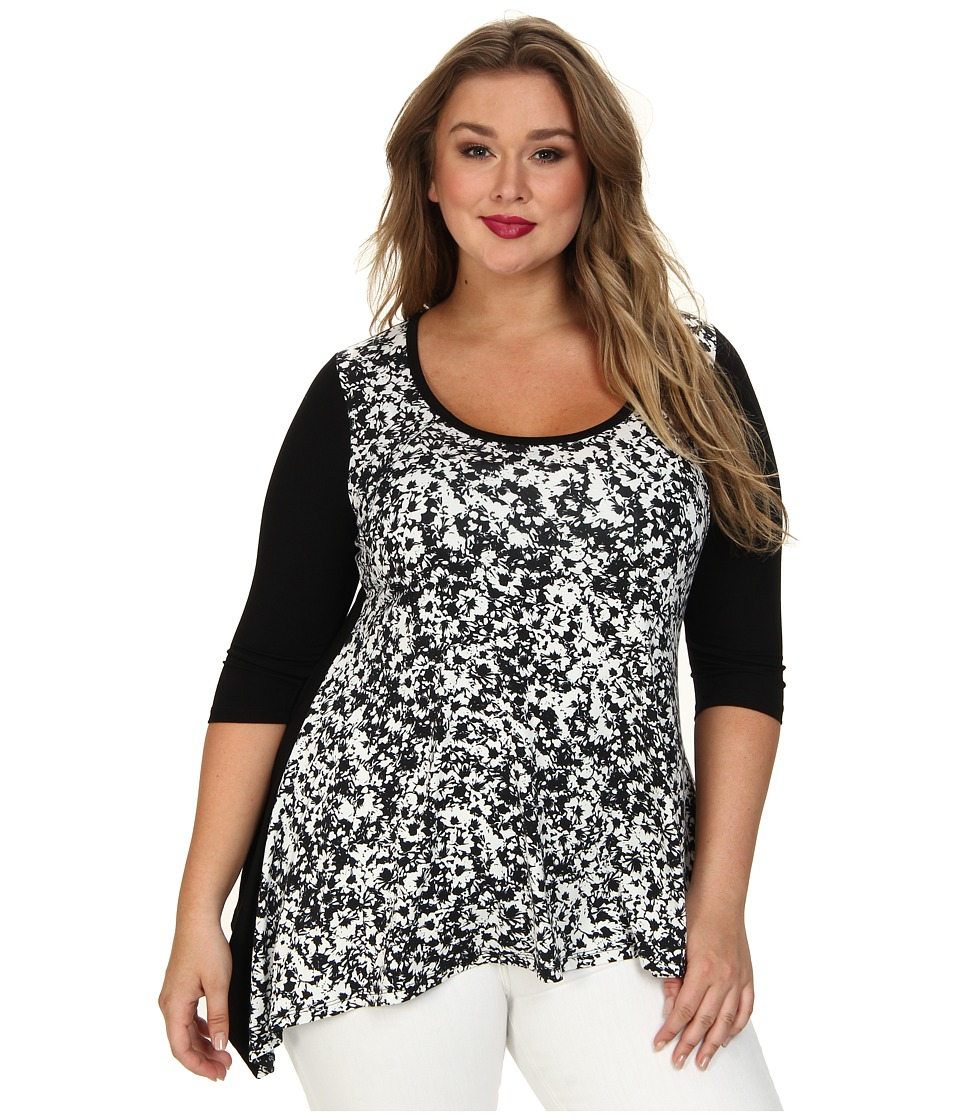 Karen Kane Plus - Plus Size Kate Print Tunic (Off White Black) Women's Blouse