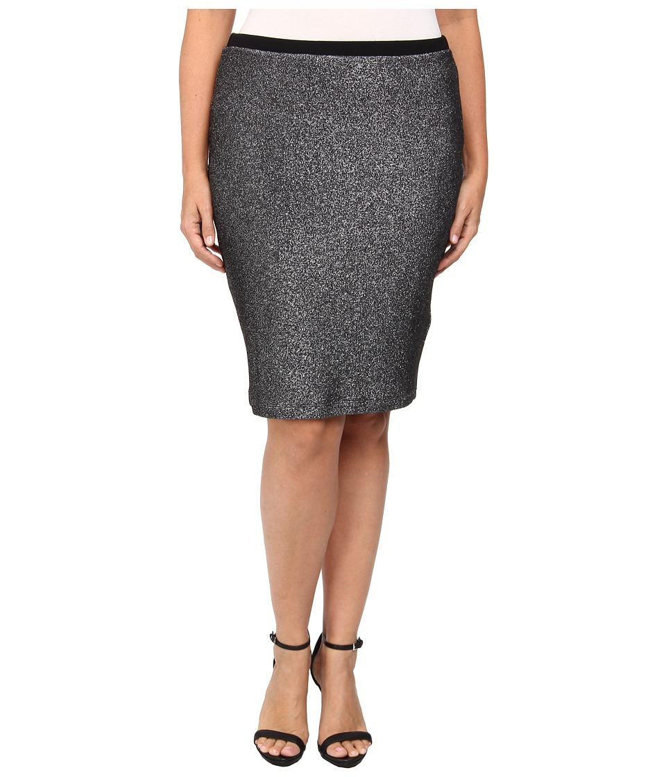 Karen Kane Plus - Plus Size Metallic Knit Pencil Skirt (Black/Silver) Women's Skirt