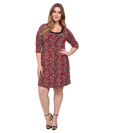 Karen Kane Plus - Plus Size Painted Chevron Dress (Print) Women's Dress