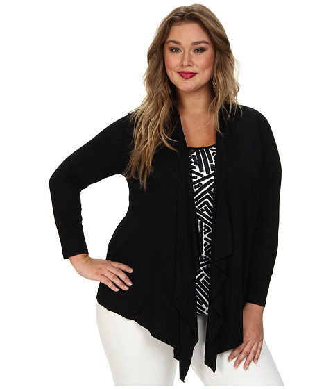 Karen Kane Plus - Plus Size Print Tank Cardigan Combo (Black Off White) Women's Sweater
