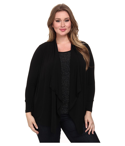 Karen Kane Plus - Plus Size Sparkle Knit Tank Cardigan Combo (Black/Silver) Women's Sweater