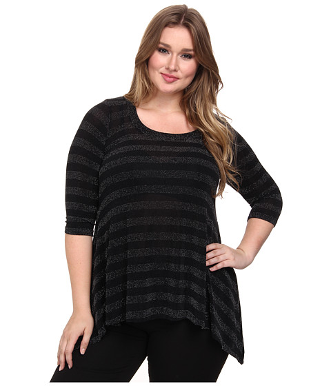 Karen Kane Plus - Plus Size Stripe Sparkle Top (Black/Silver) Women's Long Sleeve Pullover