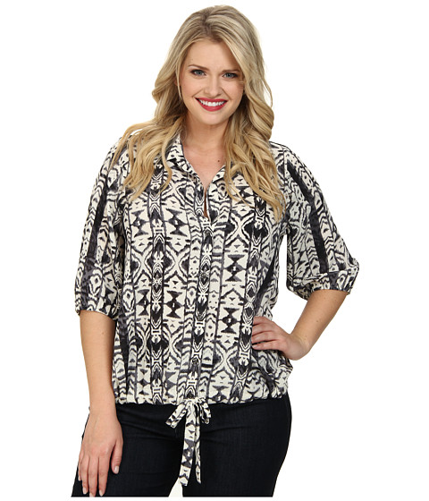 Karen Kane Plus - Plus Size Tribal Print Tie Up Shirt (Print) Women's Clothing