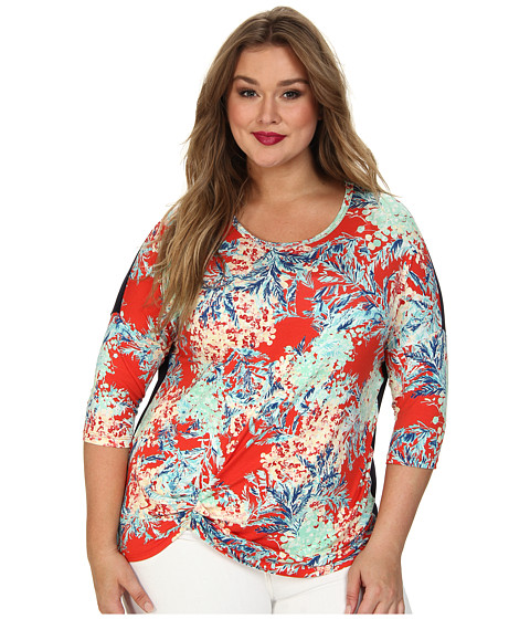 Karen Kane Plus - Plus Size Tropical Pick Up Top (Print) Women's Clothing
