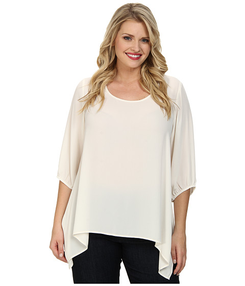 Karen Kane Plus - Plus Size Uneven Hem Top (Cream) Women