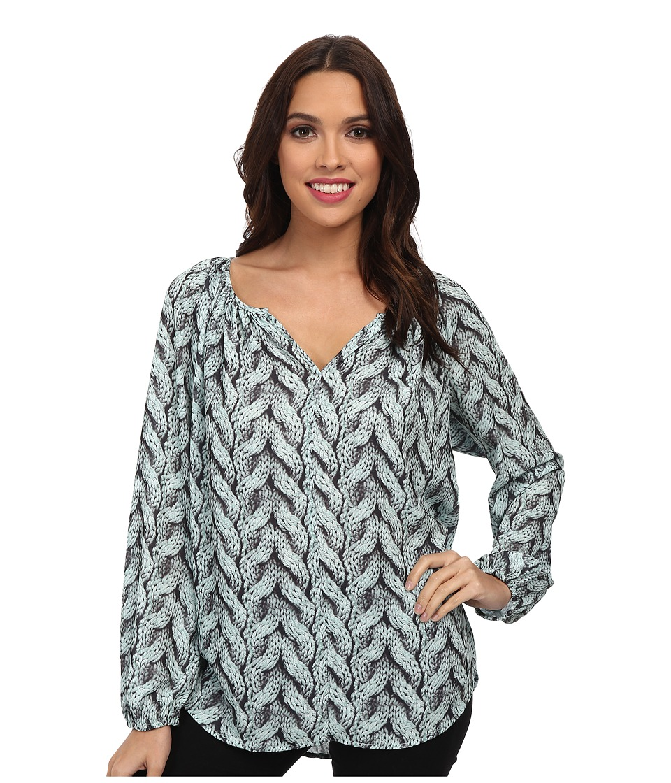 Karen Kane - Cable Print Peasant Top (Mist) Women's Long Sleeve Pullover