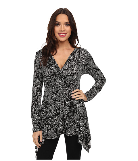 Karen Kane - Paisley Twist Front Top (Black/Off-White) Women's Long Sleeve Pullover