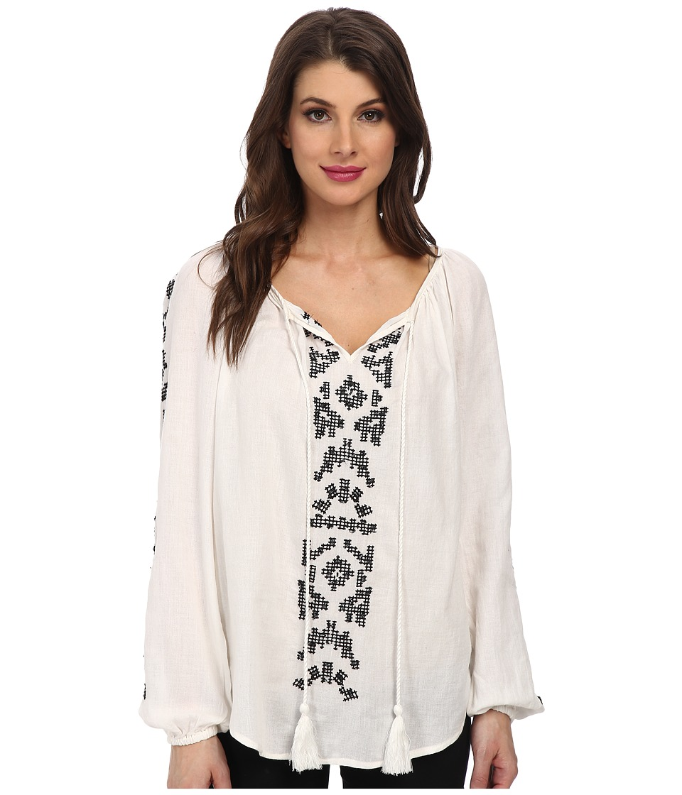 Karen Kane - Embroidered Peasant Top (Off-White) Women's Blouse