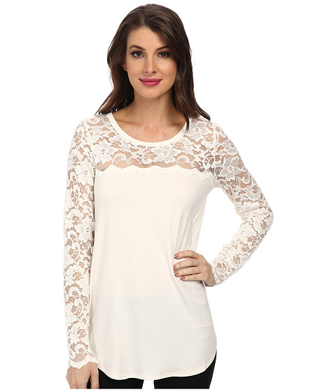 Karen Kane - Scallop Lace Contrast Top (Cream) Women
