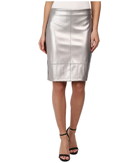 Karen Kane - Silver Faux Leather Skirt (Silver) Women's Skirt