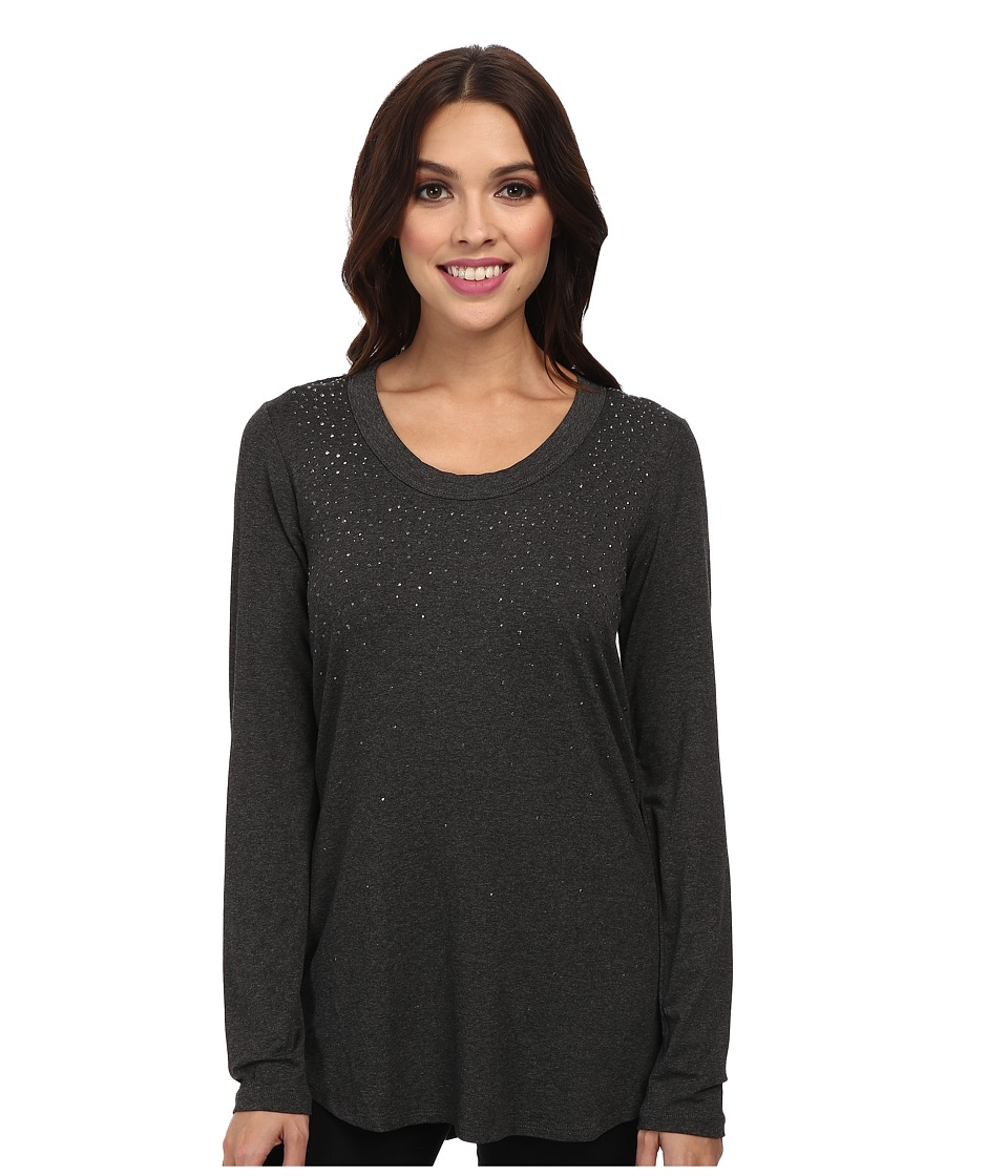 Karen Kane - Long Sleeve Sparkle Tee (Dark Heather Gray) Women's Long Sleeve Pullover