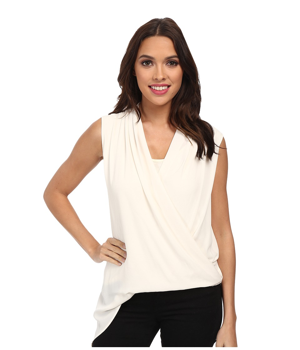 Karen Kane - Asymmetrical Hem Crossover Tank (Cream) Women's Sleeveless