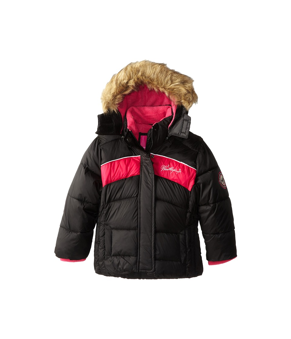Weatherproof Kids Bubble Jacket with Chest Stripes and Faux Fur Trimmed Hood (Little Kids) (Black) Girl