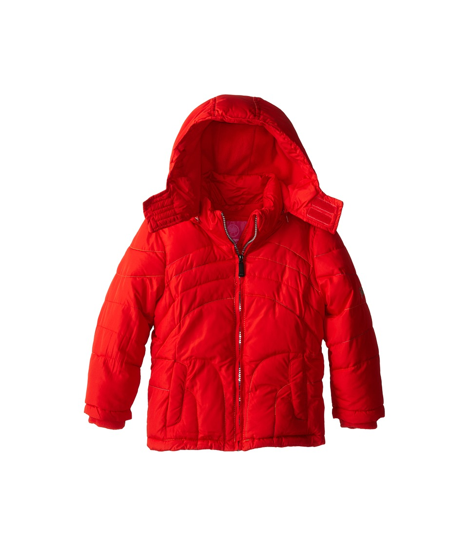Weatherproof Kids Bubble Jacket with Rainbow Stitch Quilt (Little Kids) (Red Flame) Girl