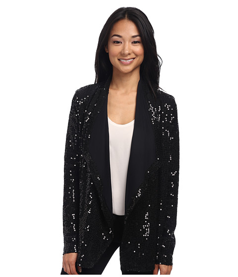 Karen Kane - Sweater Knit Sequin Cardigan (Black) Women's Sweater